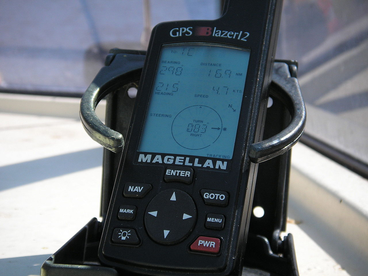 Civilian GPS receivers ('GPS navigation device') in a marine application.