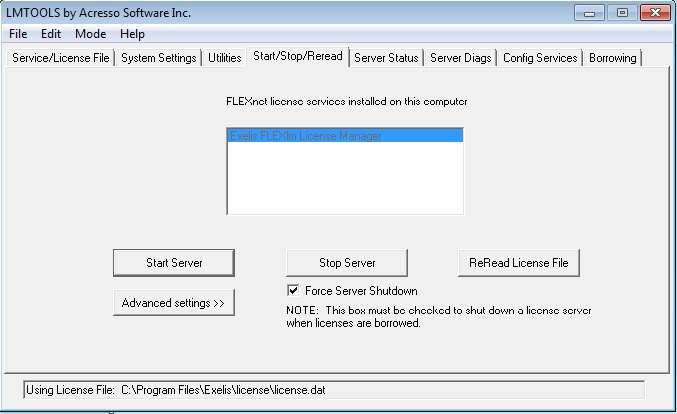 Stopping and Starting the Windows FLEXnet License Manager