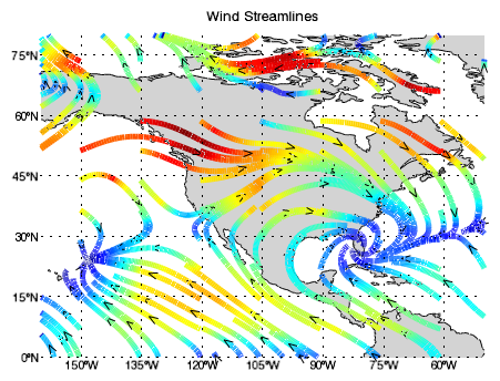 the following example displays streamlines of global wind vector data over a global map with continental outlines