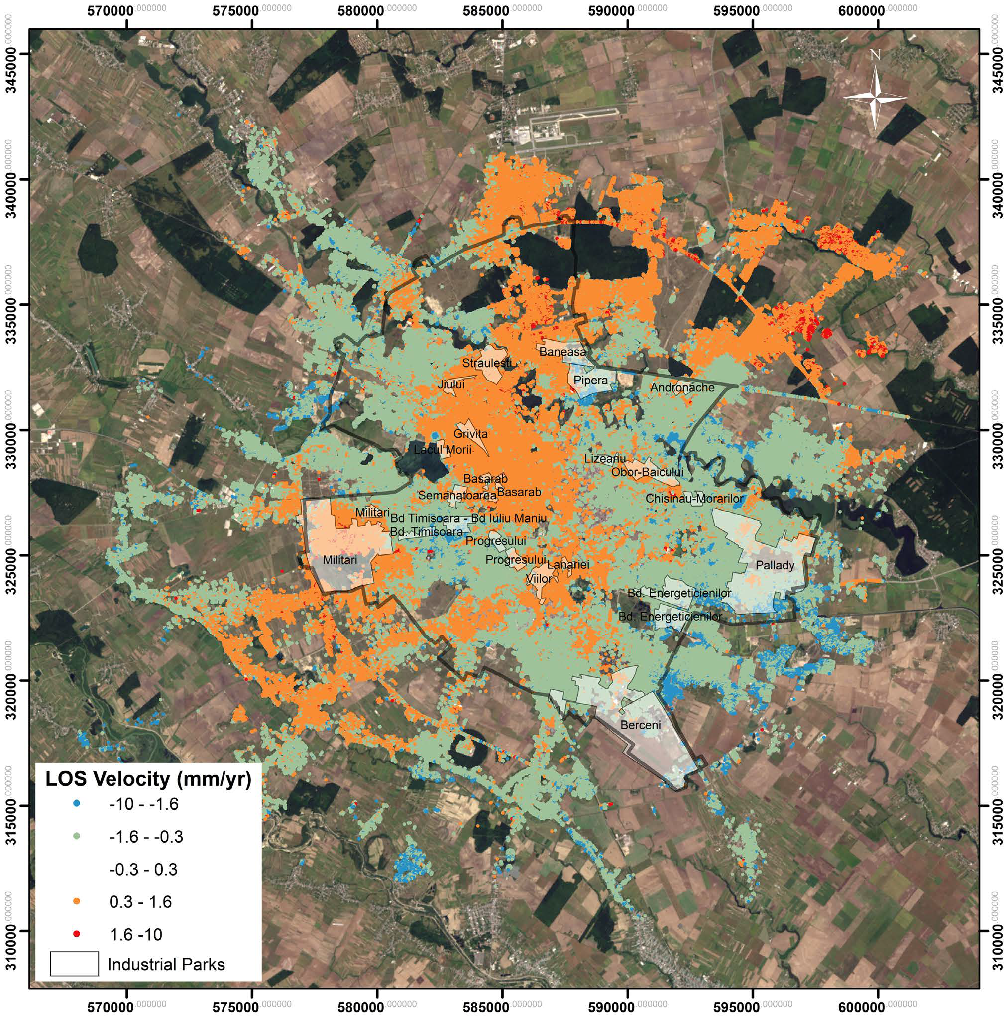 SBAS InSAR ground deformation rates in Bucharest from 2011–2014 for TSX data